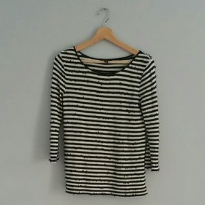 Ann Taylor 3/4 Length Striped Sequenced Top Sz XS
